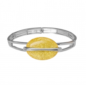 Náramok Oval Fashion Yellow Silver Elastic