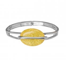 Náramok Oval Fashion Yellow Silver Elastic