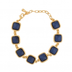 Náramok Dark Blue Squares Gold
