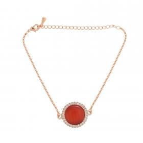 Náramok Fine Circle Cateye Orange Red Rosegold