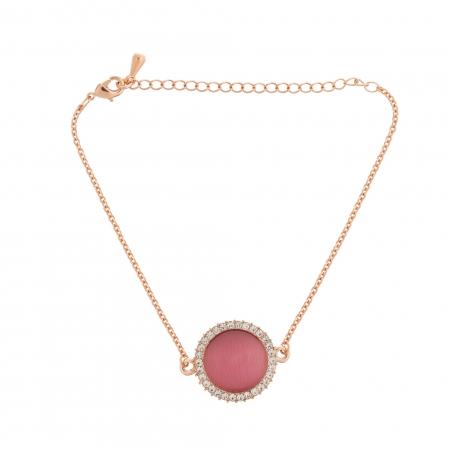 Náramok Fine Circle Cateye Raspberry Rosegold