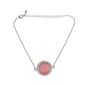 Náramok Fine Circle Cateye Pink Silver
