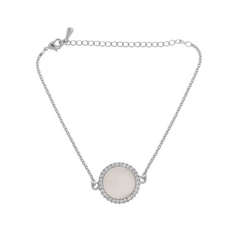Náramok Fine Circle Cateye White Silver