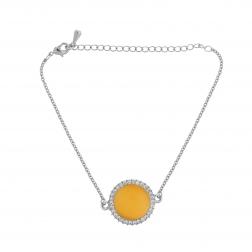 Náramok Fine Circle Cateye Yellow Silver