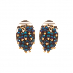 Náušnice Theodora Black Plated Blue Crystals