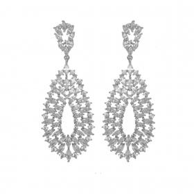 Náušnice Gina Laced Zircon Crystals Silver