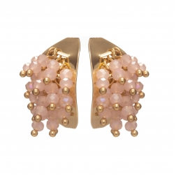 Náušnice Theodora Gold Plated Pink Crystals