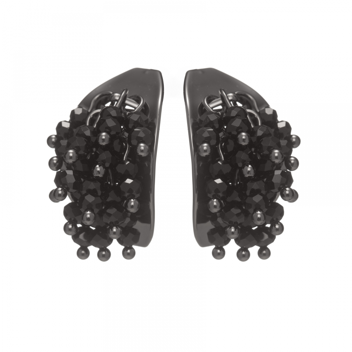 Náušnice Theodora Black Plated Black Crystals