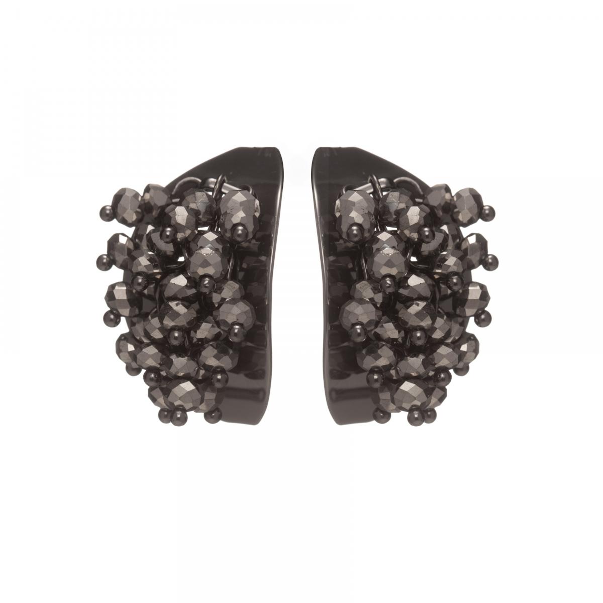 Náušnice Theodora Black Plated Gunmetal Crystals