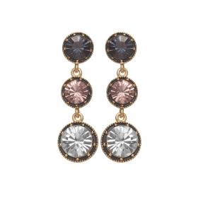 Náušnice Fine Triple Dot Blue - Purple Crystals Gold
