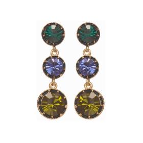 Náušnice Fine Triple Dot Green - Blue Crystals Gold