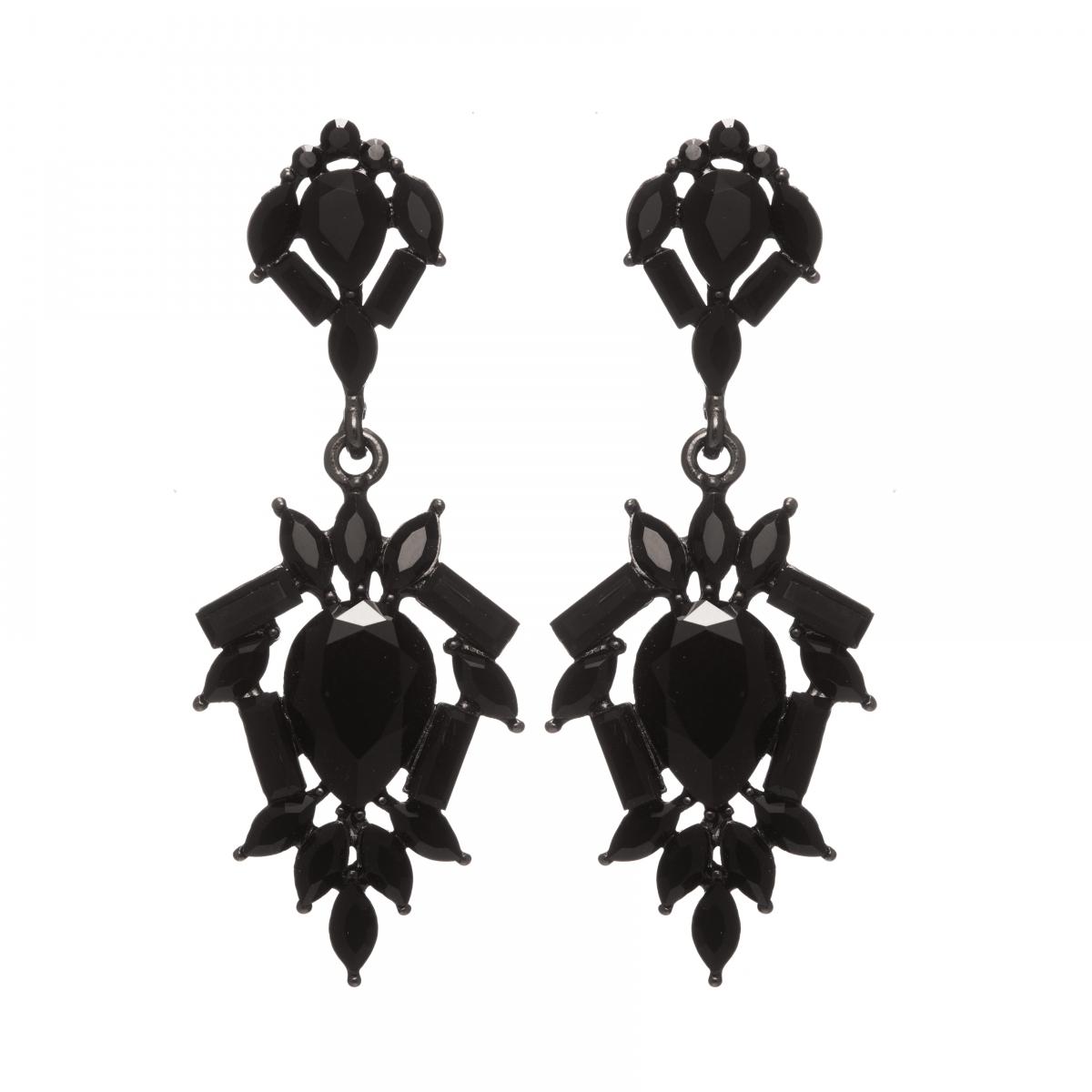 Náušnice Amelie Black Crystals Black Plated
