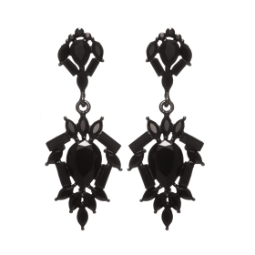 Náušnice Amelie Black Crystals Black Plated