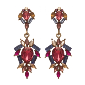 Náušnice Amelie Pink & Blue Crystals  Antique Gold Plated
