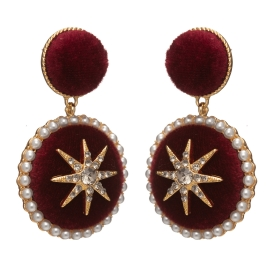 Náušnice Exclusive Velvet Ruby Ball Star Gold