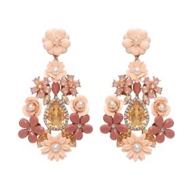 Náušnice Frida Light Pink Rose and Crystals Rose Gold