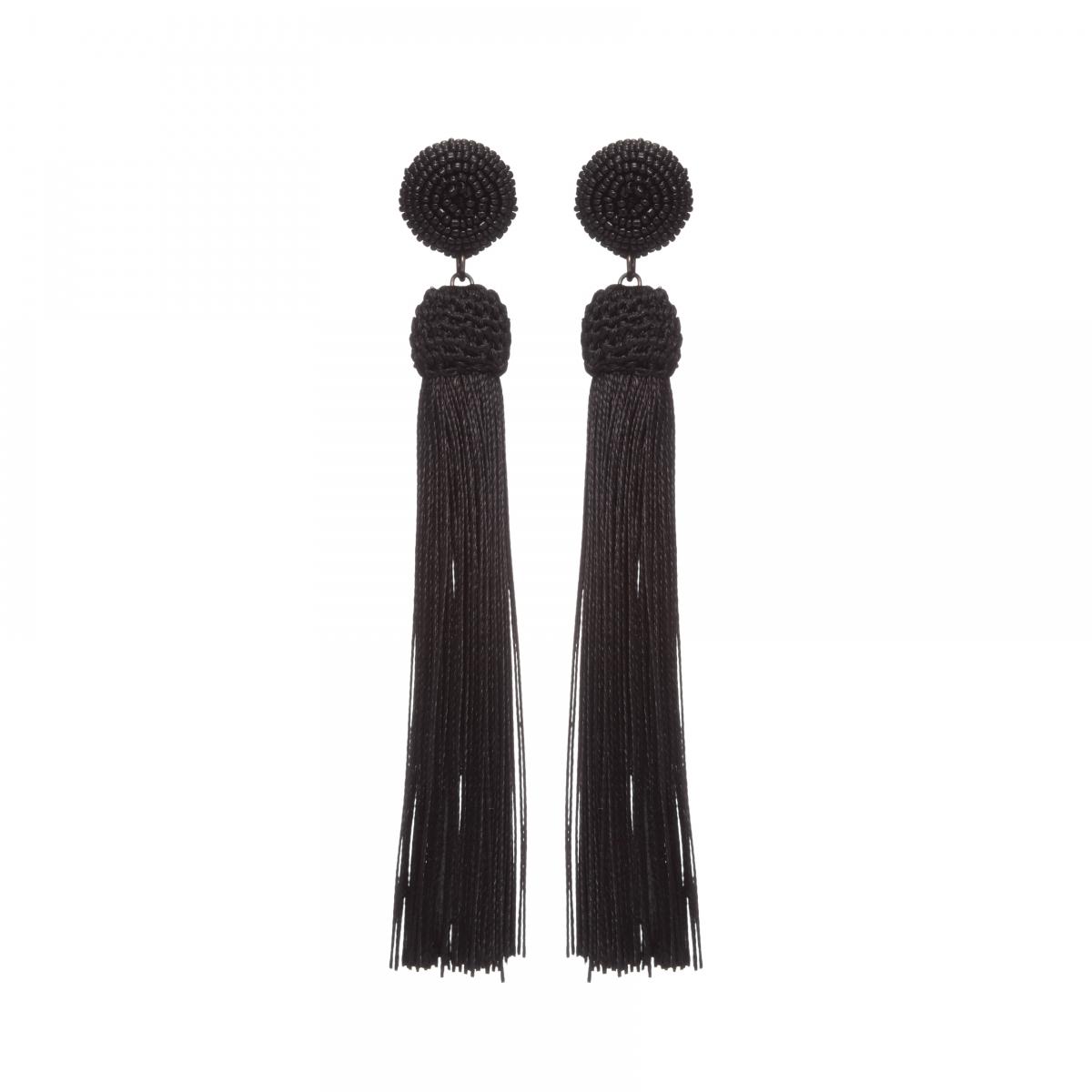 Náušnice Bonnie Black Simple Long Stripe