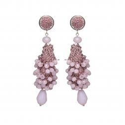 Náušnice Layla Light Purple Crystal Beads Silver