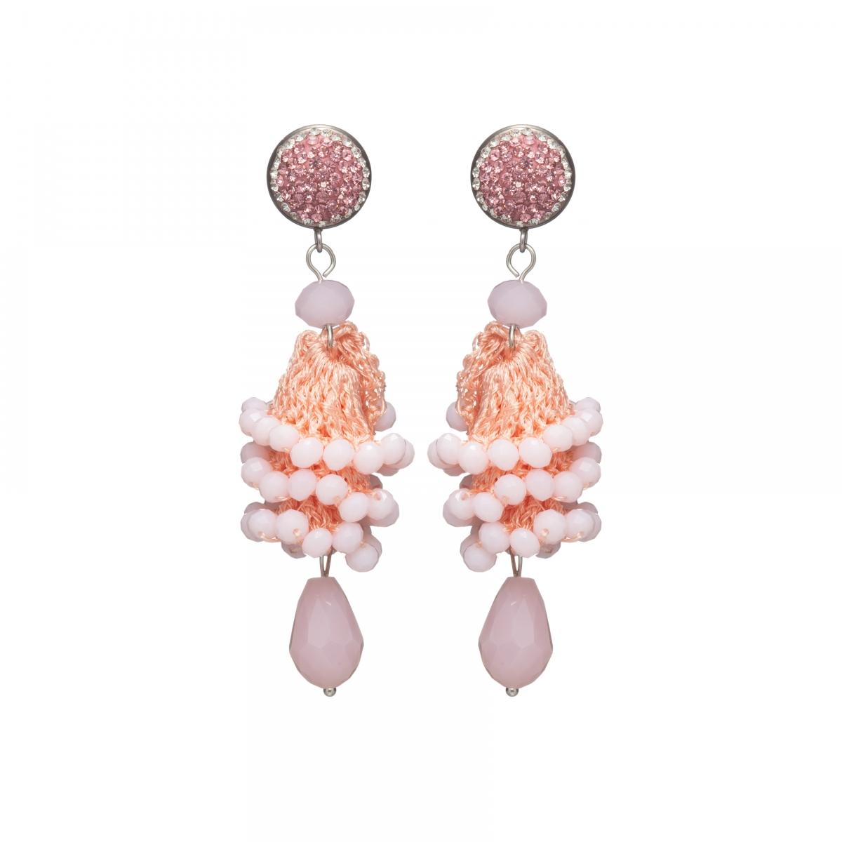 Náušnice Layla Light Pink Crystal Beads Silver
