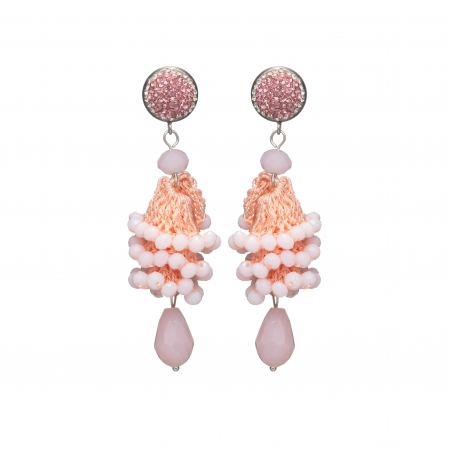 Náušnice Layla Light Pink Crystal Beads Silver
