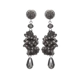 Náušnice Layla Hematit Crystal Beads Silver