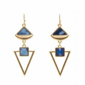 Náušnice Long Blue Marble Triangle