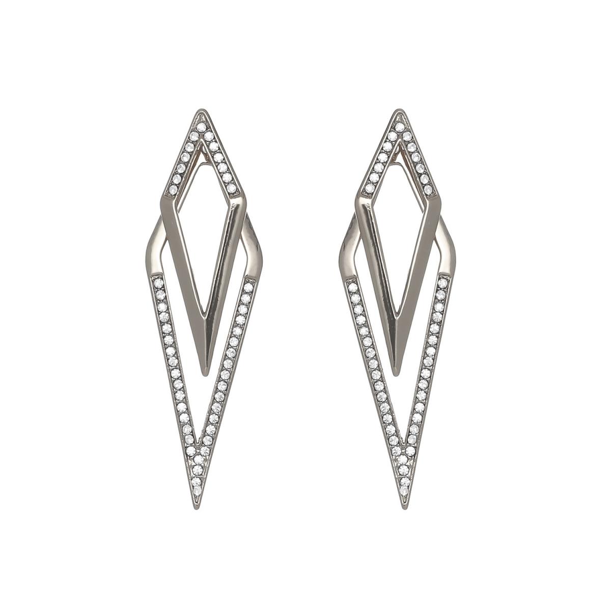 Náušnice Big Rhombus Stone Silver