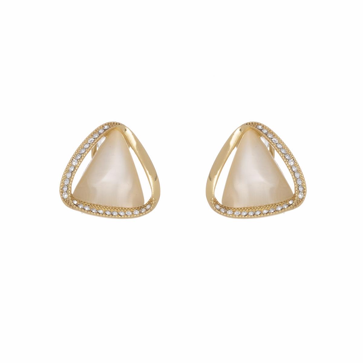 Náušnice White Cateye Triangle Gold
