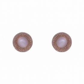 Náušnice White Cateye Button Rosegold
