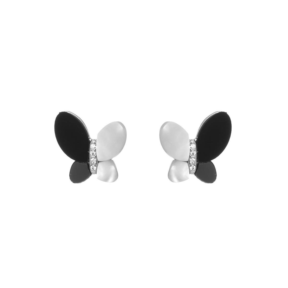 Náušnice Black White Butterfly