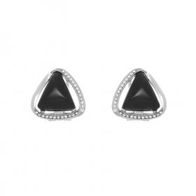 Náušnice Ressie Black Triangle Silver