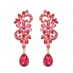 Náušnice Blossom Pink Crystal Gold