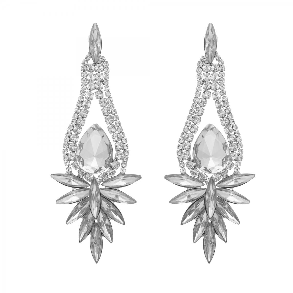 Náušnice Glacial Luxury Vintage Crystal Silver