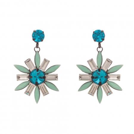 Náušnice Spring Flower Turquoise Gunmetal