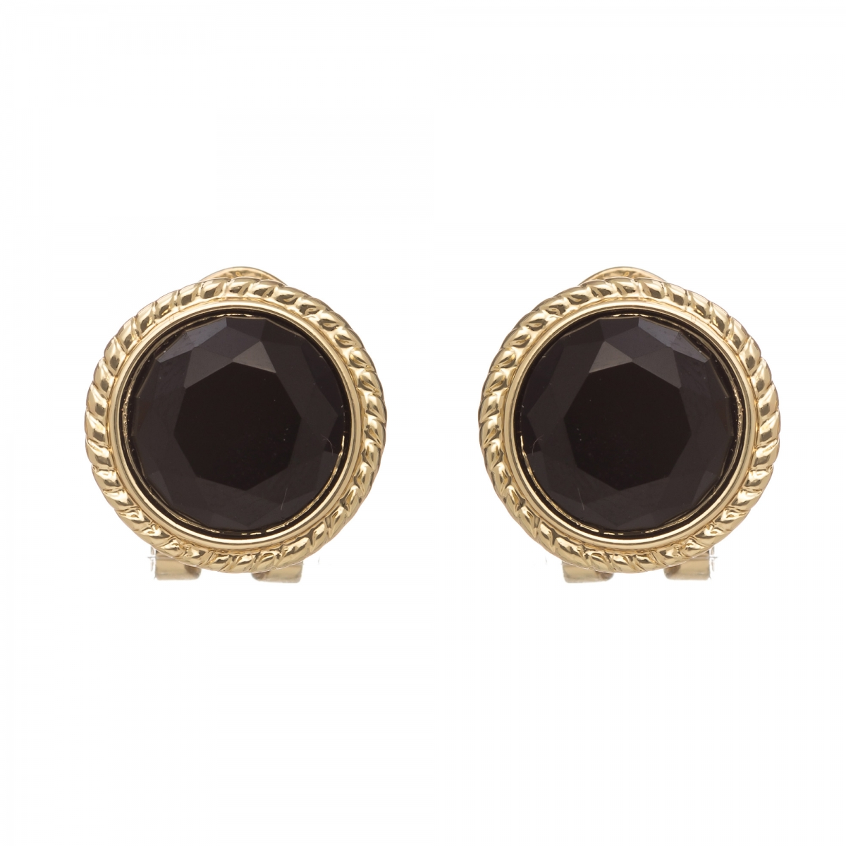 Náušnice Vintage Dots Black Clip Gold