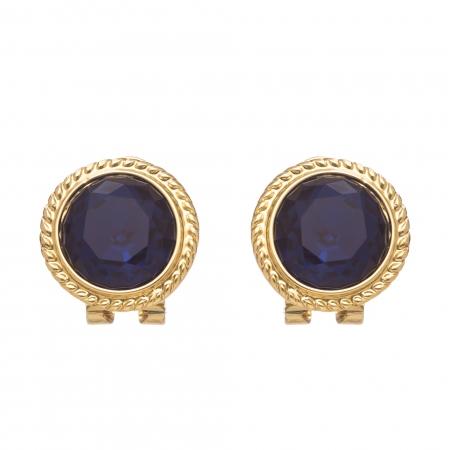 Náušnice Vintage Dots Blue Clip Gold