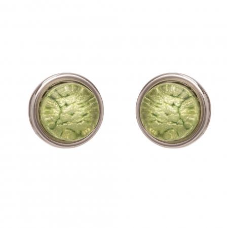 Náušnice Mini Colour Dots Light Green Silver