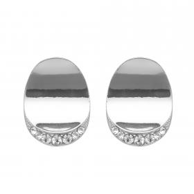 Náušnice Plain Oval Crystal Silver