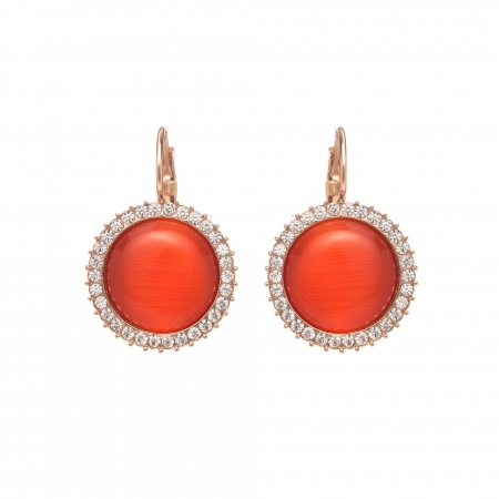Náušnice Classic Orange Red Cateye Crystal French Hook Rose Gold