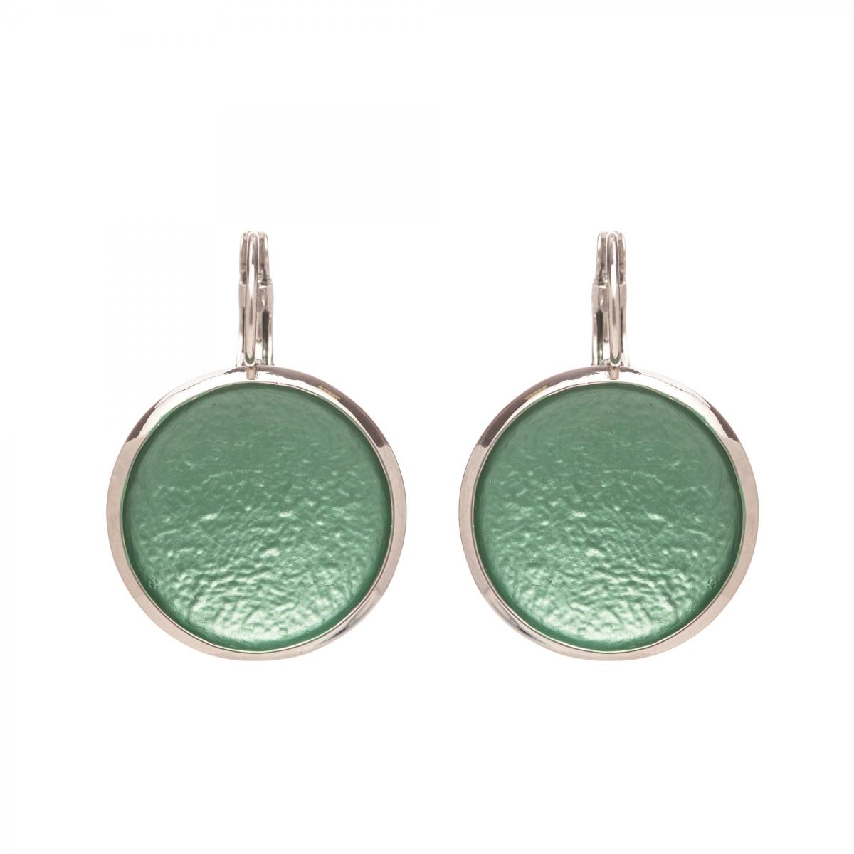 Náušnice Flat Circle Colour Green Silver