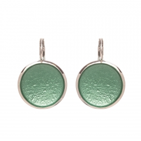 Náušnice Flat Circle Colour Green Silver
