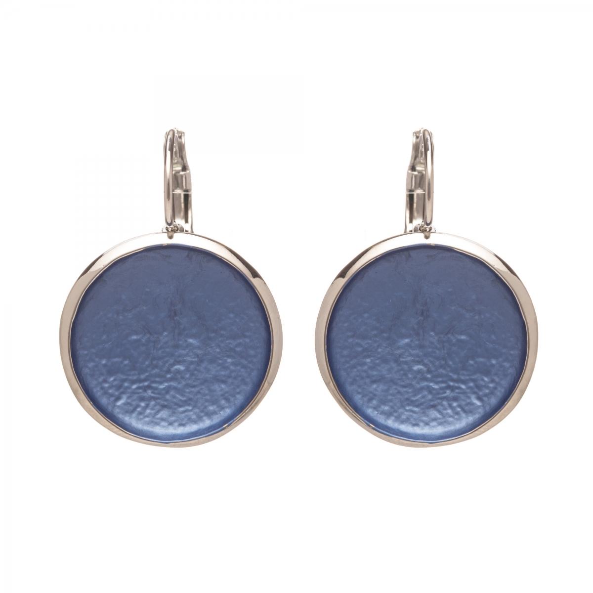 Náušnice Flat Circle Colour Blue Silver
