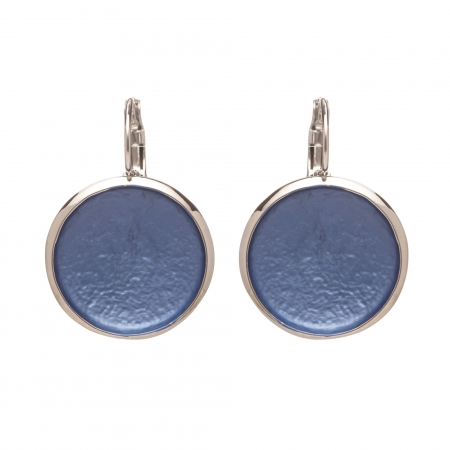 Náušnice Flat Circle Colour Blue Silver