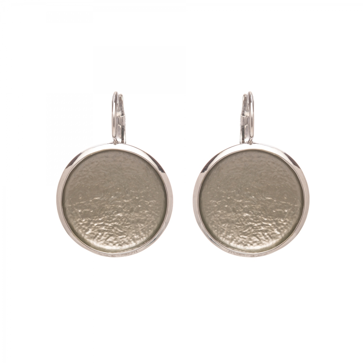 Náušnice Flat Circle Colour Grey Silver