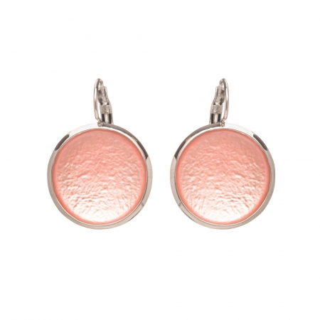 Náušnice Flat Circle Colour Light Pink Silver