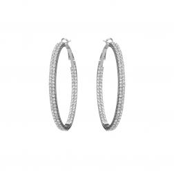 Náušnice Oval Circle Swarovski Crystal Silver