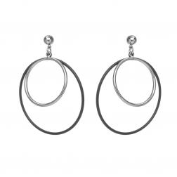 Náušnice Style Double Black - Silver