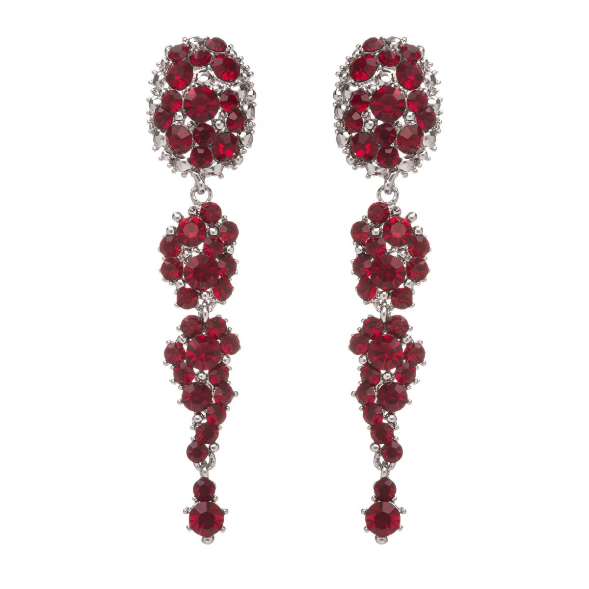 Náušnice Dragon Dark Red Silver Swarovski Crystal
