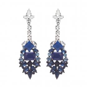 Náušnice Liza Elegance Blue Crystal