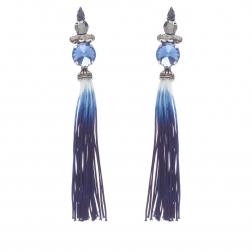 Náušnice Blue Long Crystal Stripe